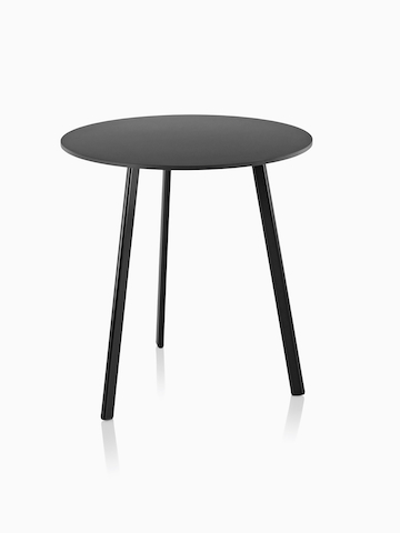 A black Magis Striped Tavolo table with a small round top.