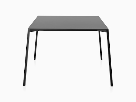 A square Magis Table_One table with a black top and legs, suitable for outdoor use.