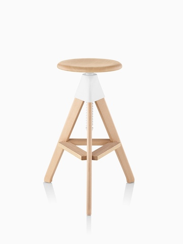 Tall Magis Tom and Jerry Stool crafted of solid beech, with a light finish and white joint between the seat and legs.