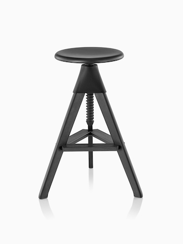Tall Magis Tom and Jerry Stool crafted of solid beech, with a black finish and black joint between the seat and legs.