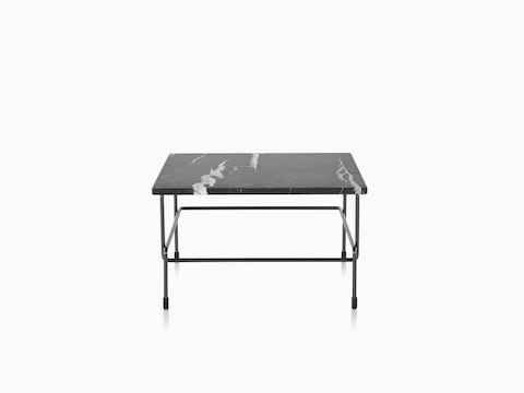 Magis Traffic table with black and gray marbled top, viewed from the front.