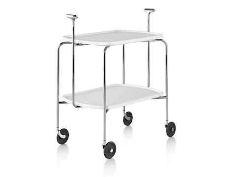A Magis Transit Folding Trolley cart with two black shelves, a steel frame, polished aluminum handles, and casters.