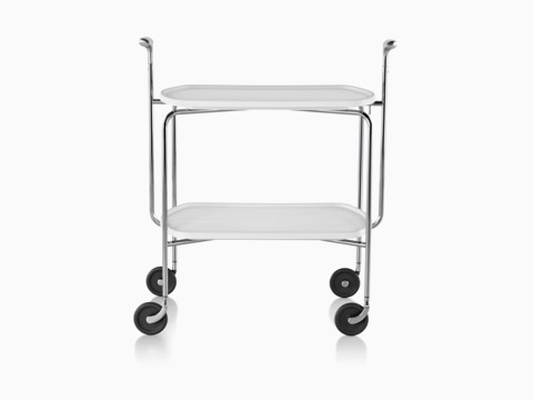 A Magis Transit Folding Trolley cart with two white shelves, a steel frame, polished aluminum handles, and casters.