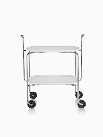 A mobile trolley cart with two shelves.