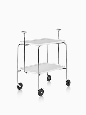 A mobile trolley cart with two shelves. Select to go to the Magis Transit Folding Trolley product page.