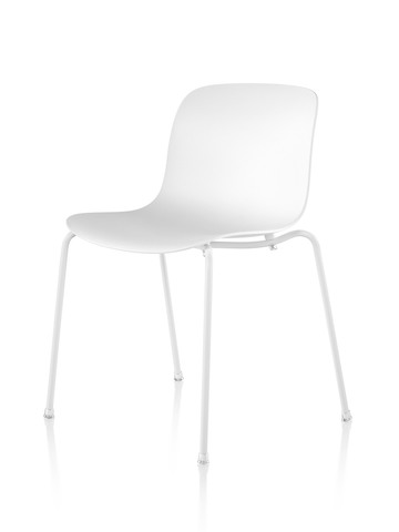 White Magis Troy Plastic side chair, viewed from a 45-degree angle.