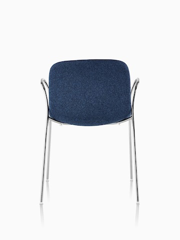 Magis Troy Upholstered side chair in blue fabric, viewed from the rear.