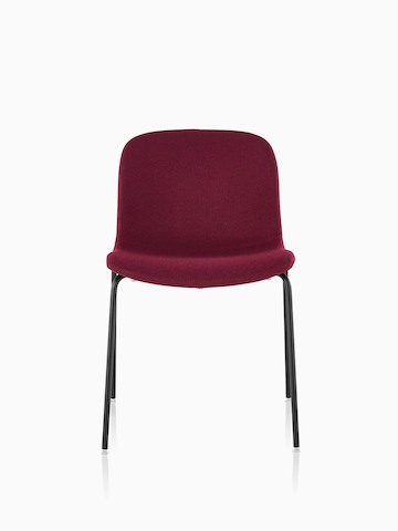 Armless Magis Troy Upholstered side chair in red fabric, viewed from the front.