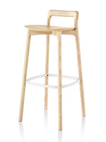 Mattiazzi Branca Stool with a light wood finish and white footrest, viewed from a 45-degree angle.