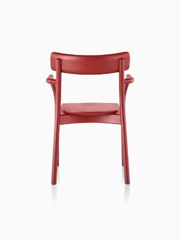 Red Mattiazzi Chiaro stackable side chair, viewed from the rear.