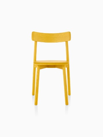 Armless Mattiazzi Chiaro stackable side chair with a yellow finish, viewed from the front.