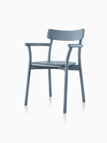 Slate blue Mattiazzi Chiaro stackable side chair, viewed from a 45-degree angle.