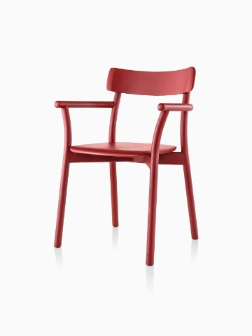 Red Mattiazzi Chiaro stackable side chair, viewed from a 45-degree angle.