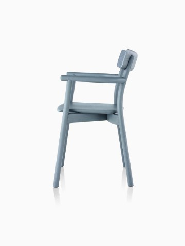 Profile view of a slate blue Mattiazzi Chiaro stackable side chair.