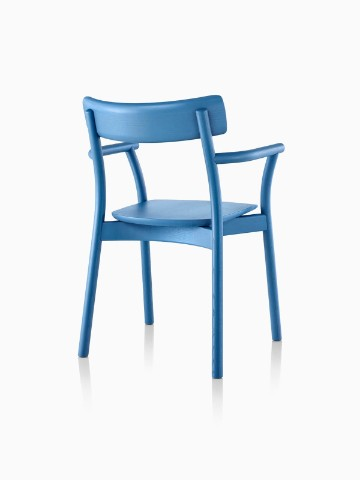 Three-quarter rear view of a blue Mattiazzi Chiaro stackable side chair.