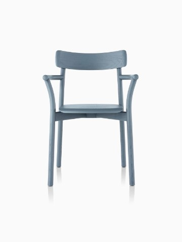 Slate blue Mattiazzi Chiaro stackable side chair, viewed from the front.