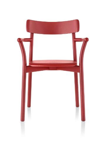 Red Mattiazzi Chiaro stackable side chair, viewed from the front.
