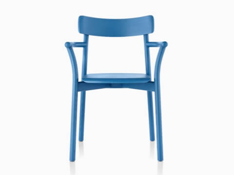 Blue Mattiazzi Chiaro stackable side chair, viewed from the front.