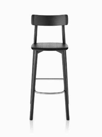 Black Mattiazzi Chiaro Stool, viewed from the front.