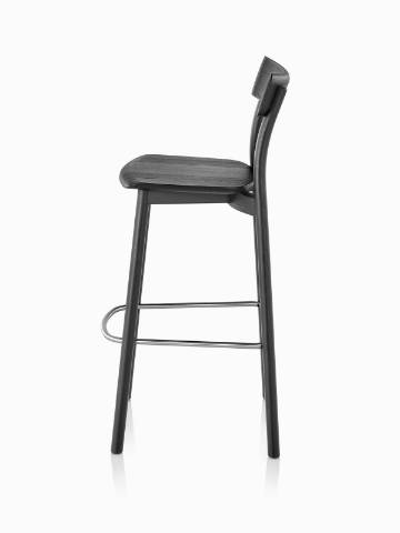 Profile view of a black Mattiazzi Chiaro Stool.