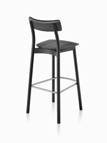 Three-quarter rear view of a black Mattiazzi Chiaro Stool.