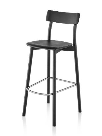 Black Mattiazzi Chiaro Stool, viewed from a 45-degree angle.