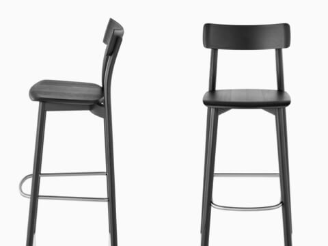 Profile and front views of two black Mattiazzi Chiaro Stools.