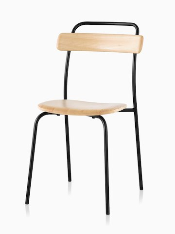 A Mattiazzi Forcina Chair with a black stainless steel frame and a natural ash seat and back. Viewed at an angle.