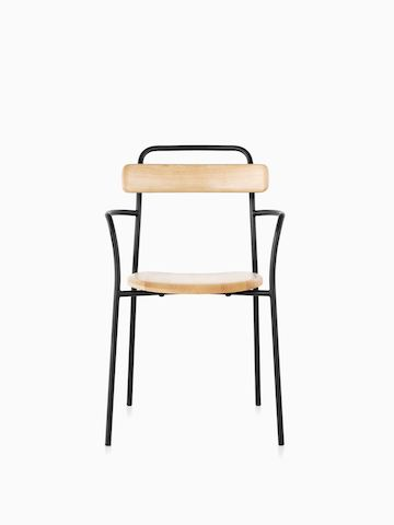 A Mattiazzi Forcina Chair with arms, a black stainless steel frame, and a natural ash seat and back. Viewed from the front.