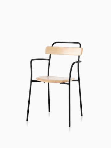 A Mattiazzi Forcina Chair with arms, a black stainless steel frame, and a natural ash seat and back. Select to go to the Mattiazzi Forcina Chair product page.