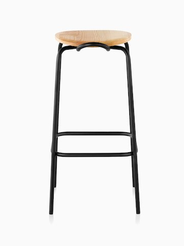 A Mattiazzi Forcina Stool with a black stainless steel frame and a natural ash seat. Viewed from behind.