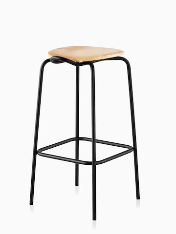 A Mattiazzi Forcina Stool with a black stainless steel frame and a natural ash seat. Viewed at an angle.