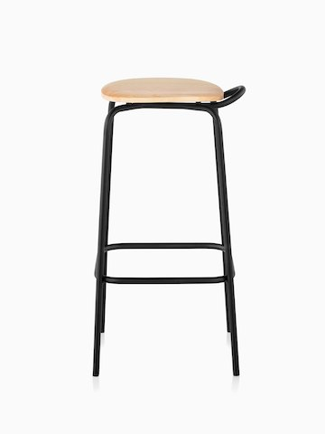 A Mattiazzi Forcina Stool with a black stainless steel frame and a natural ash seat. Viewed from the side.