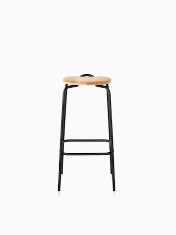 A Mattiazzi Forcina Stool with a black stainless steel frame and a natural ash seat. Viewed from the front.