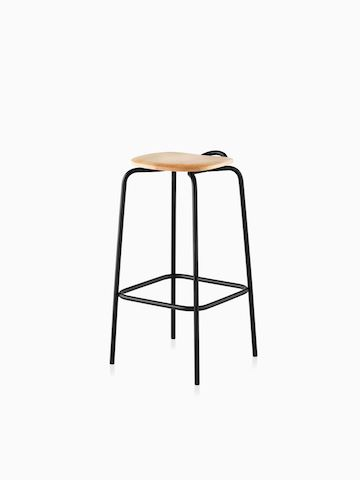 A Mattiazzi Forcina Stool with a black stainless steel frame and a natural ash seat. Select to go to the Mattiazzi Forcina Stool product page.