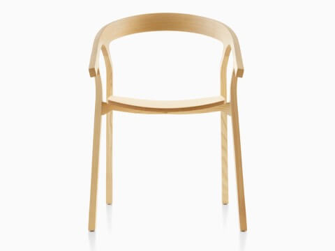 Wood Mattiazzi He Said Chair with a light finish, viewed from the front.