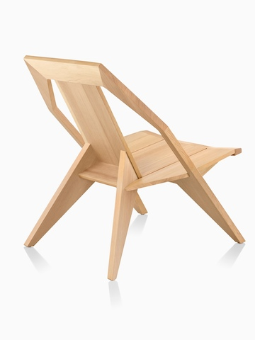 Mattiazzi Medici Chair in natural wood, viewed from the back at an angle.