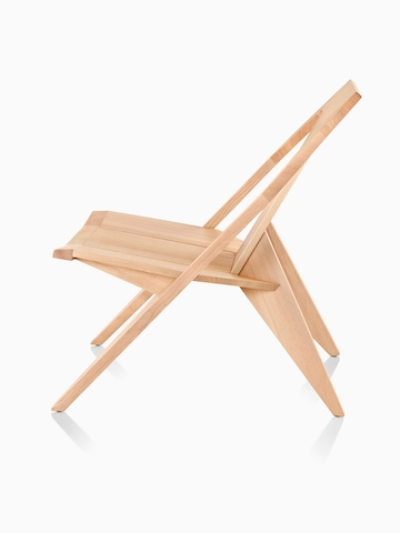 Mattiazzi Medici Chair in natural wood, viewed from the side.