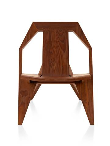 A wood Mattiazzi Medici outdoor chair in a medium finish, viewed from the front.