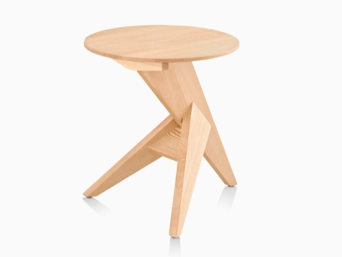 Oblique view of a Mattiazzi Medici occasional table with a round top and angular tripod base.