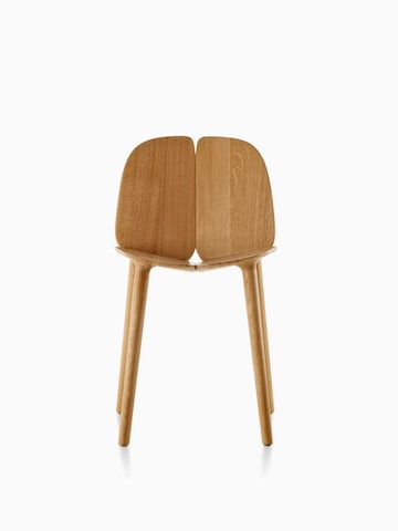 Wood Mattiazzi Osso side chair, viewed from the front.