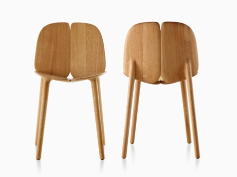 A front view and a rear view of two Mattiazzi Osso wood side chairs.