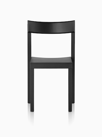 Black Mattiazzi Primo stacking chair, viewed from the front.