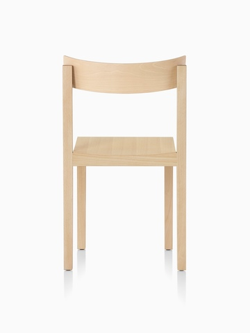 Mattiazzi Primo stacking chair with a light wood finish, viewed from the rear.