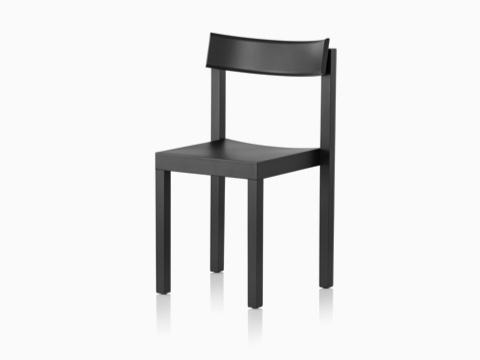 Black Mattiazzi Primo stacking chair, viewed from a 45-degree angle.