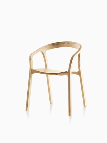 Wood Mattiazzi She Said stackable side chair with a light finish, viewed from a 45-degree angle.