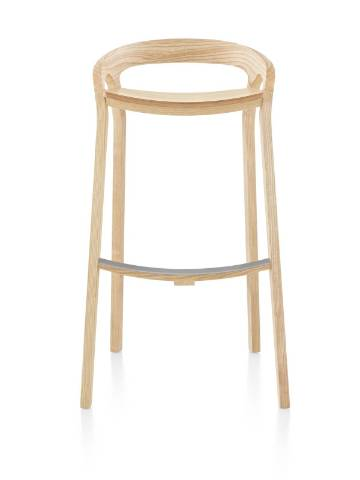 Mattiazzi She Said Stool with a light wood finish, viewed from the front.