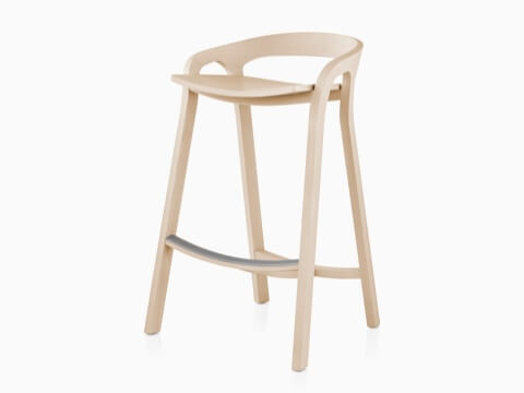 Mattiazzi She Said Stool with a light wood finish, viewed from a 45-degree angle.