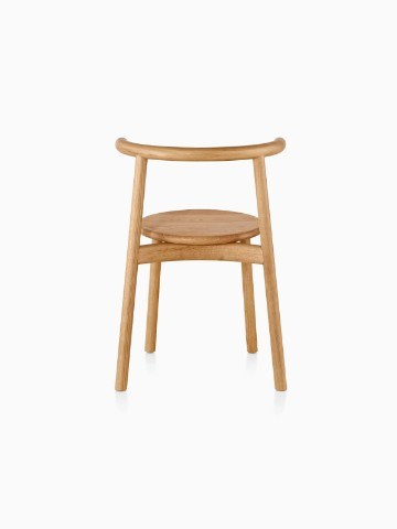 Wood Mattiazzi Solo side chair with a light finish, viewed from the rear.