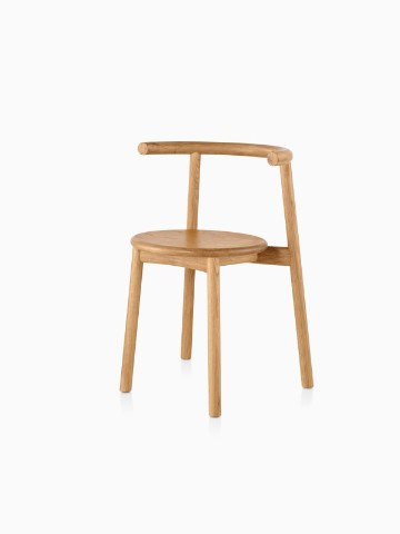 Wood Mattiazzi Solo side chair with a light finish, viewed from a 45-degree angle.